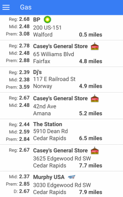 PitStop List of Gas Stations